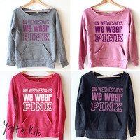 Women Crop Sweatshirt - On Wednesday we wear pink - Christmas gift