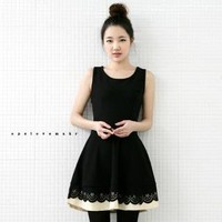 YESSTYLE: lovemark- Eyelet-Lace Hem Contrast-Trim Dress - Free International Shipping on orders over $150
