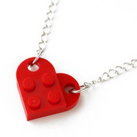 ShanaLogic.com - 100% Handmade & Independent Design! Retro Block Heart Necklace - Red - Jewelry - Girls