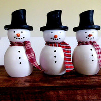 Set of 3 Turned Wooden Snowmen Hand Painted
