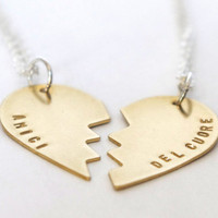 Best Friend Necklace Set - Hand Stamped in Italian