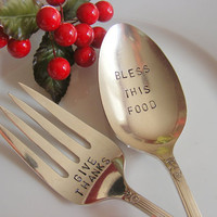 Holiday Serving Spoon and Fork Set
