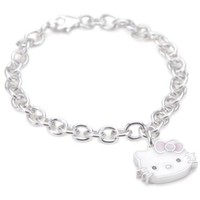 "Hello Kitty Pink Enamel Bow And Sterling Silver Charm Bracelet,7"" - designer shoes, handbags, jewelry, watches, and fashion accessories 