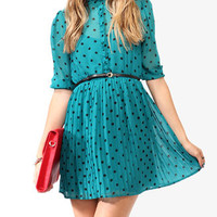 Ruffled Polka Dot Dress w/ Belt