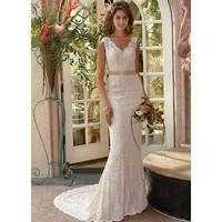 Mermaid Straps V-Neck Court Train Lace Wedding Dress - Cheap Wedding Dresses