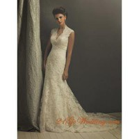 Elegant Trumpet Whole Lace Wedding Gown V-Neck Full Length Court Train - Cheap Wedding Dresses