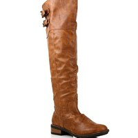 Cognac Double Buckle Riding Boots