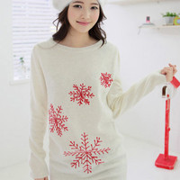 X'mas Snowflake Long Sleeve Sweater$45.00