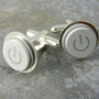 Power Up Cuff Links, White Mac Power Buton, Recycled, Apple, Techie, Wedding, Anniversay, Birthday, Gift, Men, power button jewelry