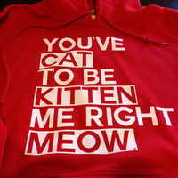 You've Cat To Be Kitten Me Right Meow Funny Screen Printed Hoodie Hooded Sweatshirt Mens Womens Ladies Funny Geek