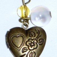 Small Heart Shaped Locket Necklace With Heart and Flower Engraved