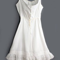 1900's Antique White Cotton Under Dress - M Antique Lace Crochet Lingerie Underwear :