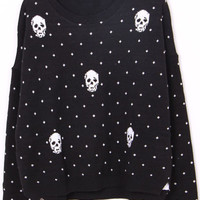 Black Long Sleeve Polka Dot Skull Print Sweater$43.00