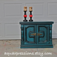 Gypsy Teal Night Stand/ Retro End Table /Accent TV Cabinet/ Living Room Storage/ Bedroom Side Table