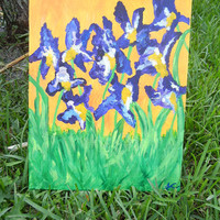 OOAK Abstract Acrylic Painting, Irises, on 16 x 20 Canvas