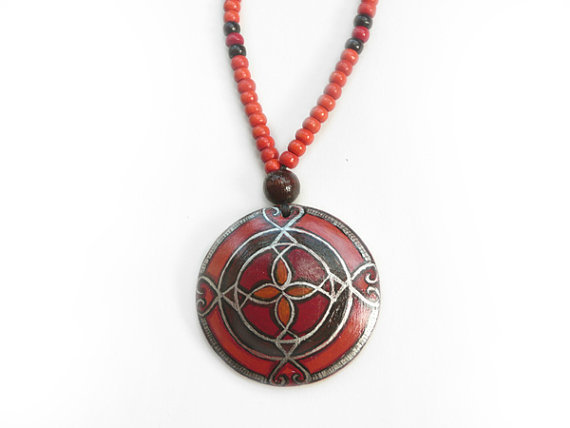 Beaded Red Necklace Ethnic Pendant Extraordinary African Hand Painted Jewelry Tribal Design