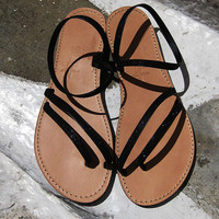 Greek Leather Sandals - Handmade - Black Glitter