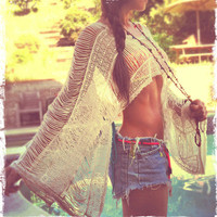 Pearl Fringe Boho Caftan/Scarf/Kimono Shrug in One (Reserved for Kate)