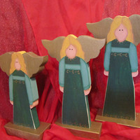 Christmas Angels Wood Painted Shelf Sitter Set of 3