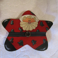 Christmas Santa Claus Star Shape Wood Painted Shelf Sitter Set of 2
