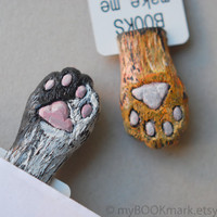 Set of 2 bookmarks. Cat paws. Orange and black paws in book. Funny gift for child, children, kids, for her, all, hostess, couple.