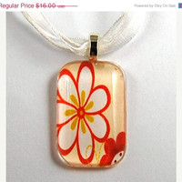 ON SALE - Glass Tile Pendant with Red and White Flower Design on a White Organza Necklace