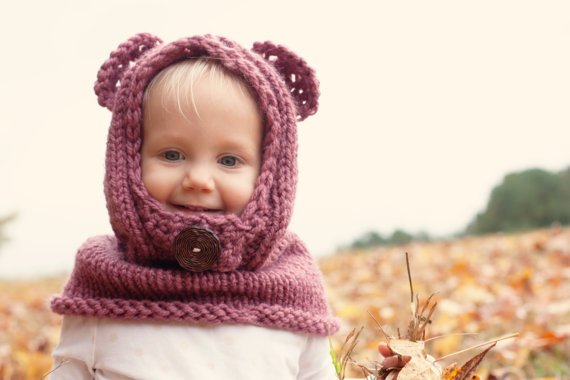 Hand knit childrens hooded bear cowl from Sweetsouthernpurl on
