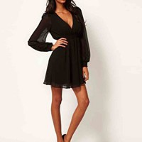 ASOS Wrap Dress With Long Sleeves at asos.com