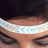 Arrows and Dots headband, Tribal Headband, Indie, elastic closure, Geometric, Native Style, Aztec, Boho headband, Bohemian