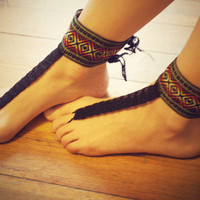 Beautiful Aztec Barefoot Sandals