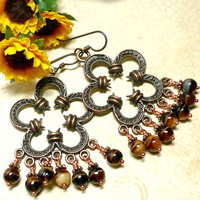 Antique Copper and Czech Brown Tiger Eye Niobium Chandelier Earrings