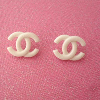 Chanel inspired earrings //  white logo earrings