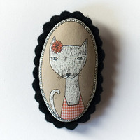 cat with flower - color handcrafted and illustrated brooch felt