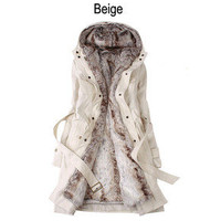 Winter Coat with Faux Fur Ling 2 in 1 Hood Fur Parka Overcoat Long Jacket S-XXL