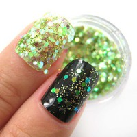Leafy Green - Bright Green Raw Nail Glitter Mix 3.5 Grams from nailartsupplies