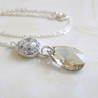 Wedding Jewelry Bridal Necklace Swarovski Crystal Teardrop Cubic Zirconia Sterling Silver Pendant - Bella E33N