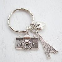 Camera Charm Keychain Keyring, Traveler Key Ring,I love Paris Key Ring,Travel to Paris,Photography Keyring, Photographer Accessory