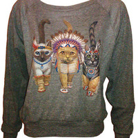 Three Native Kitty Cats Pullover Slouchy &quot;Sweatshirt&quot;  Top American Apparel Gray S