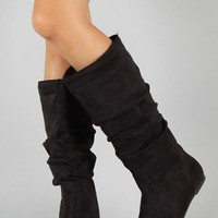 Wild Diva Kalisa-04N Suede Slouchy Knee High Boot
