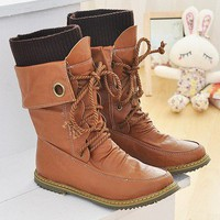 T19Brown Women Lace Up Buckle Strap Ankle Brown MidCalf Boot Sz US 5 6 7 8 9 9.5