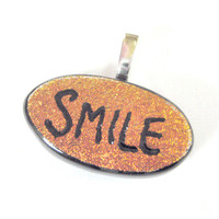 Orange Dichroic Glass Pendant Slider, Hand Etched Smile Pendant, TT team - Triumph - 3774