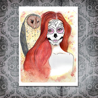 Day of the Dead  Art Print - Owl Evening- Autumn - Yellow -Sugar Skull - Dia de los Muertos