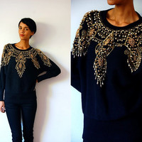 Vtg Gold Beaded Baroque Knitted Black Sweater