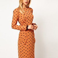 ASOS Dress In Swan Print at asos.com