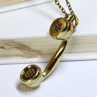 vintage style antiqued brass telephone necklace by Sevinoma
