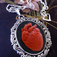 Red Anatomical Heart Black Cameo Necklace by couturebylolita
