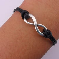 Fashion adjustable infinity bracelet ropes bracelet women bracelet girls bracelet with black ropes and silver infinity SH-2688