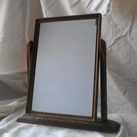 Antique Wood Swivel Art Deco Framed Mirror