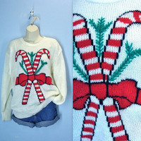 Candy Cane Sweater / Vintage Ugly Christmas Sweater