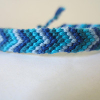 Chevron Braided Friendship Bracelet - Ocean Blues